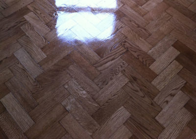 After - oak parquet flooring with varnish