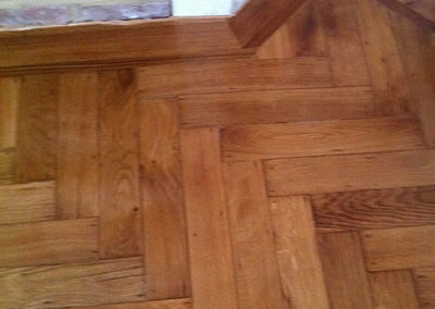 After - original oak and rose wood ovelay laid and varnished