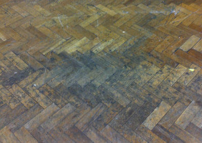 Before - oak parquet in appalling condition