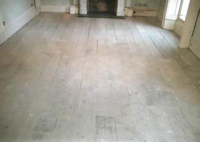 Before - original Victorian pine floorboards
