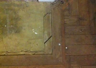 Before - original oak and rose wood overlay project to follow pattern to cover hearth