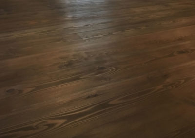 Dark stained oak and lacqured with matt silk finish