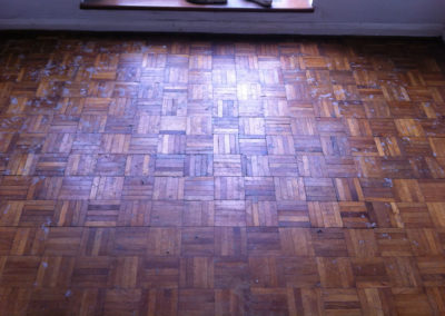 Relaid original oak parquet fingers with gaps filled