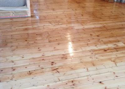 Restored and sanded hardwood floor